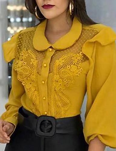 billige Topper til damer-Skjorte Dame - Ensfarget Gul