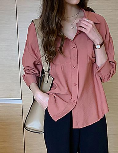 billige Dametopper-Skjorte Dame - Ensfarget Grunnleggende Hvit
