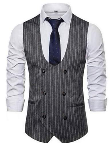 voordelige Herenblazers & kostuums-Heren Vest, Effen / Gestreept V-hals Rayon / Nylon / Spandex Lichtgrijs / Donkergrijs / Marineblauw