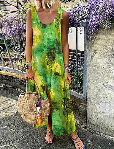 voordelige Maxi-jurken-Dames Standaard Recht Jurk - Geometrisch, Patchwork Maxi