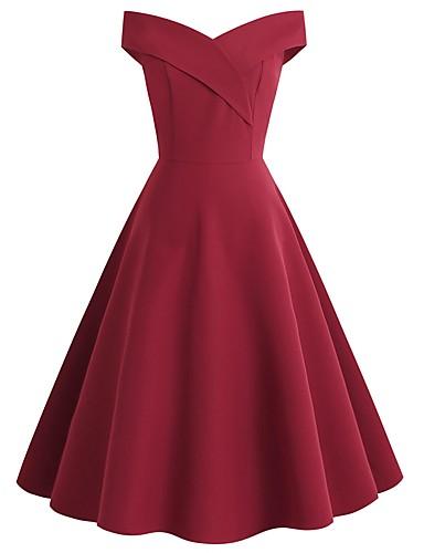 billige Kjoler-Dame Vintage Elegant A-linje Skjede Swing Kjole - Ensfarget Polkadotter, Åpen rygg Ovenfor knéet