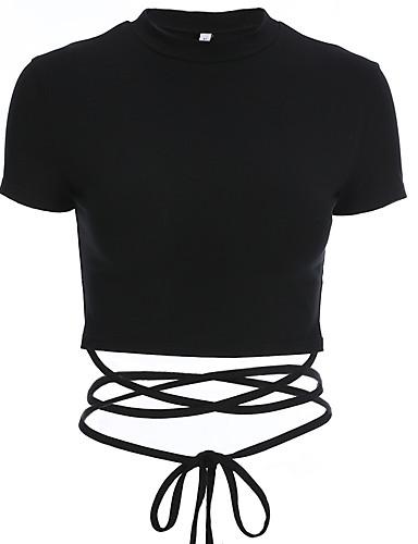 billige Topper til damer-T-skjorte Dame - Ensfarget, Snorer Grunnleggende Svart