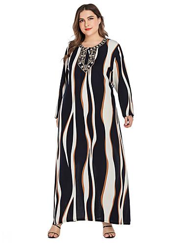 voordelige Grote maten jurken-Dames Vintage Standaard Recht Jurk - Gestreept, Geborduurd Maxi