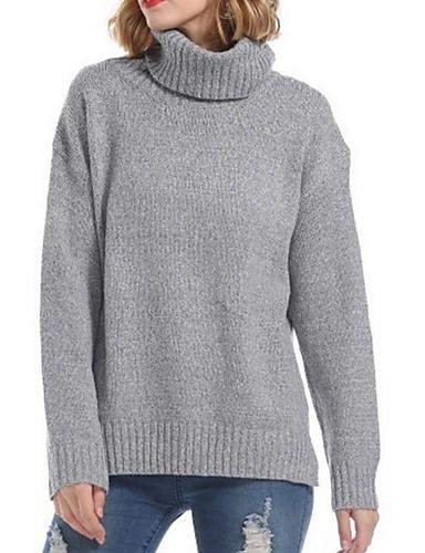 billige Dametopper-Dame Ensfarget Langermet Pullover, Rullekrage Mørkegrå / Beige En Størrelse
