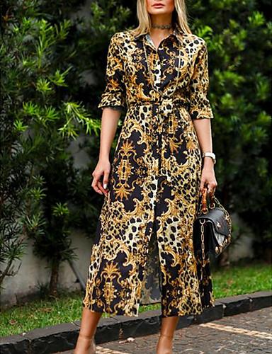 billige Kjoler-Dame Grunnleggende Skjorte Kjole - Leopard Midi