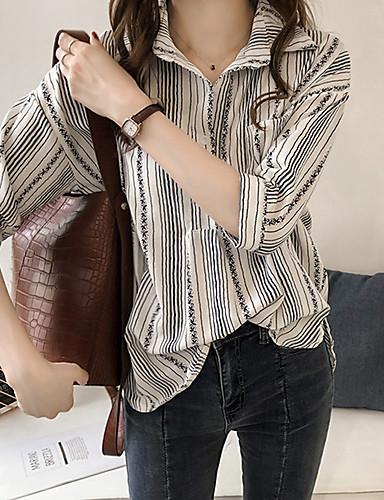 billige Topper til damer-Skjorte Dame - Stripet Grunnleggende Hvit