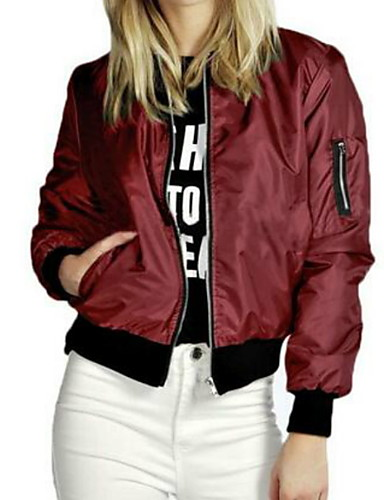cheap Women's Jackets-Women's Daily Regular Jacket, Solid Colored Round Neck Long Sleeve Polyester Black / Wine / Green