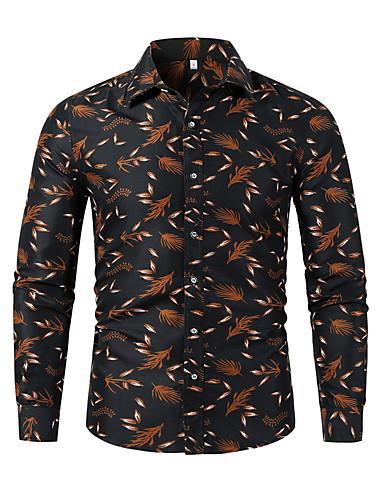 voordelige Uitverkoop-Heren Standaard Print Overhemd Grafisch Zwart