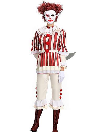 hesapli Dans kostümleri-Palyaço Kostüm Erkek TV / Film Cadılar Bayramı Performans Tema Partisi Kostümler Erkek Dans kostümleri Terylene Pasek