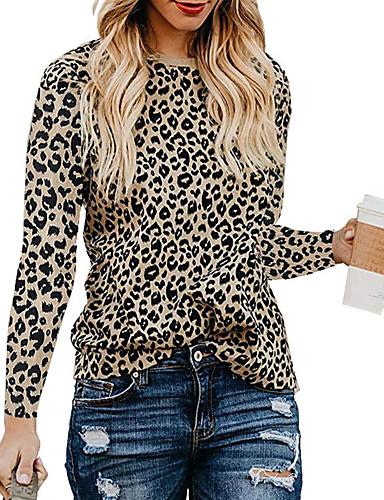 billige Topper til damer-T-skjorte Dame - Leopard, Trykt mønster Vintage Svart