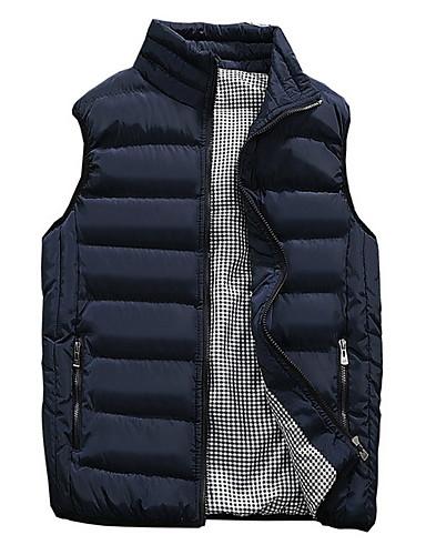 voordelige Heren donsjassen & parka's-Heren Effen Vest, Polyester Zwart / Wijn / Leger Groen US32 / UK32 / EU40 / US34 / UK34 / EU42