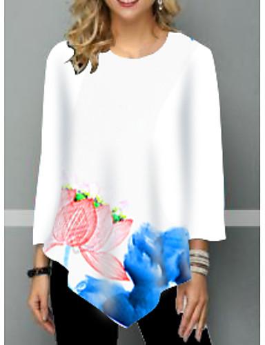 billige Topper til damer-T-skjorte Dame - Blomstret Hvit