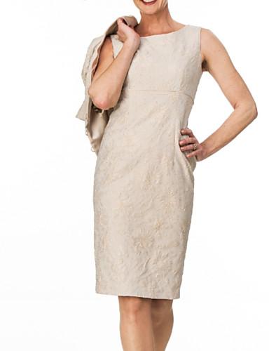 voordelige Wrap Dresses-Tweedelig Met sieraad Tot de knie Kant Bruidsmoederjurken met Kralen / Ruches door LAN TING Express / Wrap inbegrepen