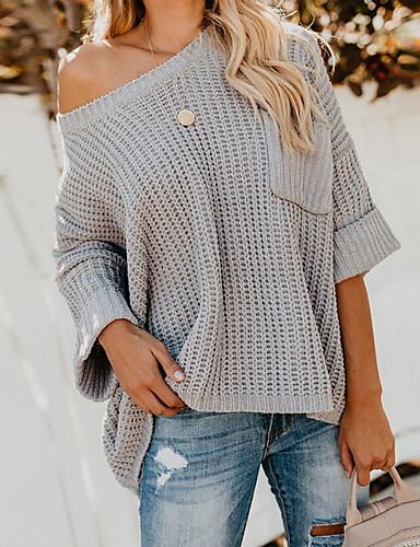 povoljno Ženske majice-Žene Jednobojni Dugih rukava Pullover, Okrugli izrez Svjetloplav / Svijetlosiva S / M / L