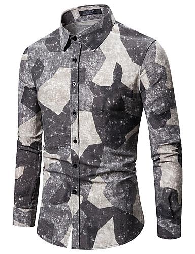 voordelige Herenoverhemden-Heren Standaard / Elegant Overhemd Effen / Kleurenblok / camouflage Lichtgrijs
