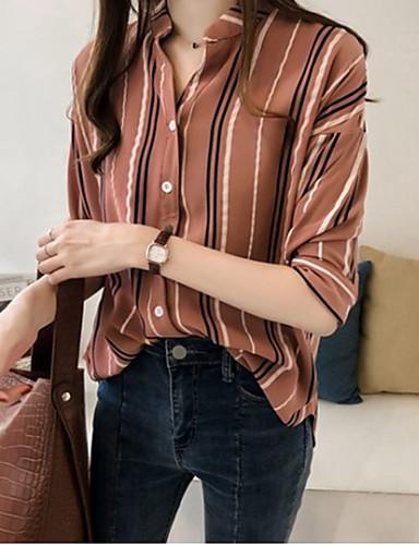 billige Dametopper-Skjorte Dame - Stripet Hvit