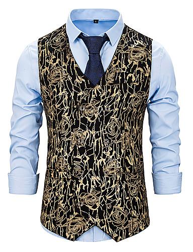 voordelige Herenblazers & kostuums-Heren Vest, Geometrisch V-hals Polyester Goud / Zilver