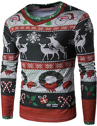 voordelige Heren T-shirts & tanktops-Heren Standaard Print T-shirt 3D / Cartoon Kerstman Regenboog