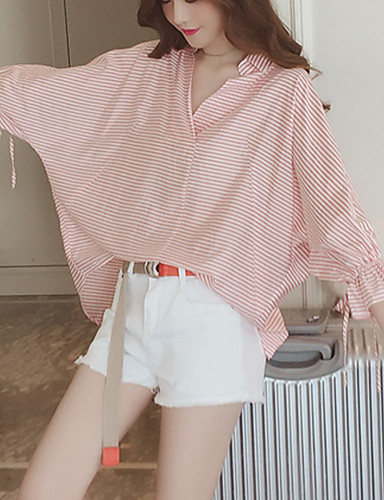 billige Dametopper-Skjorte Dame - Stripet Grunnleggende Svart