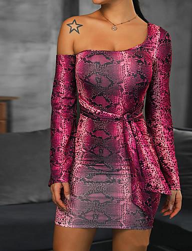 levne Dámské šaty-Dámské Vintage Bodycon Pouzdro Šaty - Geometrický Mini