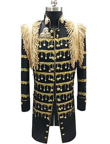 voordelige Herenblazers & kostuums-Heren Blazer, Gestreept Opstaand Polyester Zwart / Wit / Rood