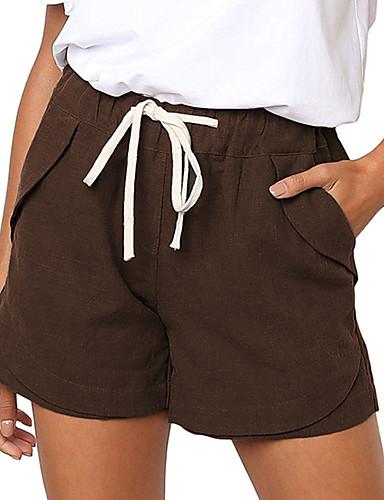 abordables Pantalons Femme-Femme Vacances Short Pantalon - Couleur Pleine Lin Bleu Marron Vert S M L