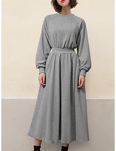billige Kjoler-Dame Grunnleggende T skjorte Kjole - Ensfarget Midi
