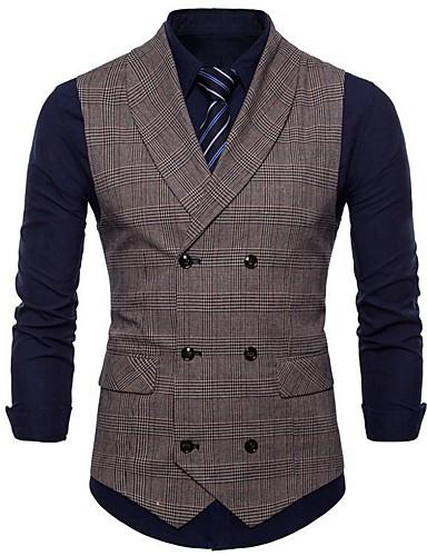 voordelige Herenblazers & kostuums-Heren Vest V-hals Polyester Lichtgrijs / Bruin / Donkergrijs