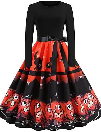 abordables Robes Femme-Femme Rétro Vintage Mi-long Trapèze Robe - Noeud Mosaïque, Animal Fruit Noir S M L Manches Longues