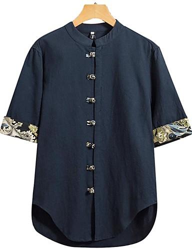 voordelige Herenoverhemden-Heren Vintage / Elegant Overhemd Effen Zwart
