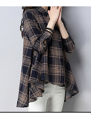 billige Dametopper-Skjorte Dame - Geometrisk, Lapper overdrevet BLå & Hvit / Svart & Rød Rød