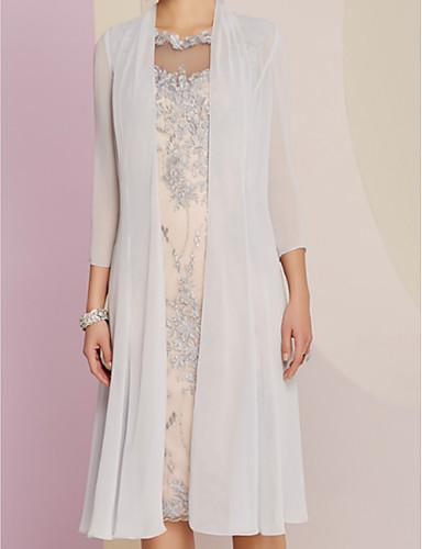 voordelige Wrap Dresses-Strak / kolom Bateau Neck Tot de knie Chiffon / Kant Bruidsmoederjurken met Appliqués door LAN TING Express / Wrap inbegrepen