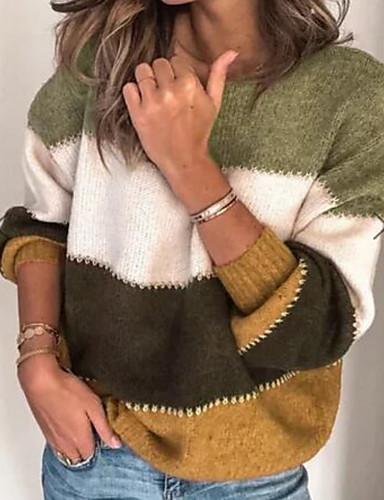 billige Dametopper-Dame Stripet Langermet Pullover, Rund hals Lilla / Militærgrønn / Blå S / M / L