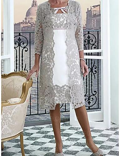 voordelige Wrap Dresses-A-lijn / Tweedelig Met sieraad Tot de knie Kant Bruidsmoederjurken met Appliqués door LAN TING Express / Wrap inbegrepen