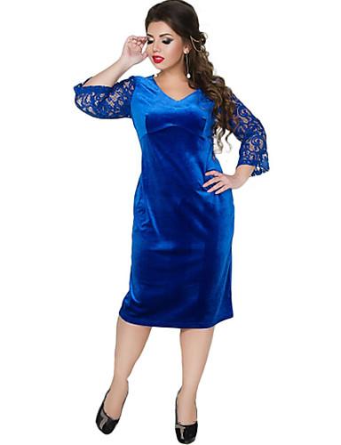 voordelige Grote maten jurken-Dames Schede Jurk - Kleurenblok Midi