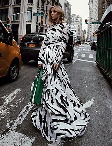 abordables Robes Femme-Femme Maxi Balançoire Robe Bloc de Couleur Blanche S M L Manches Longues