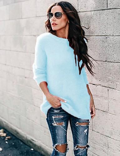 povoljno Ženske majice-Žene Jednobojni Dugih rukava Pullover, Okrugli izrez Blushing Pink / Plava / Sive boje S / M / L
