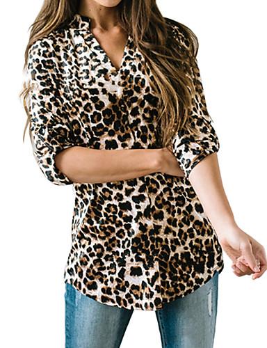 billige Dametopper-Skjorte Dame - Leopard Grunnleggende / Gatemote Brun