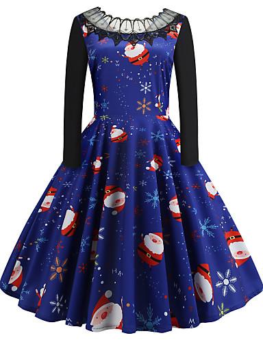 levne Dámské šaty-Dámské Vintage A Line Šaty - Zvíře, Krajka Patchwork Tisk Délka ke kolenům