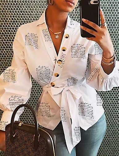 Χαμηλού Κόστους Γυναικείες Μπλούζες-Γυναικεία Πουκάμισο Φλοράλ Λευκό