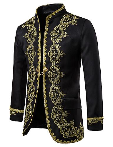 voordelige Herenblazers & kostuums-Heren Blazer, Kleurenblok Opstaand Polyester Zwart / Wit / Rood