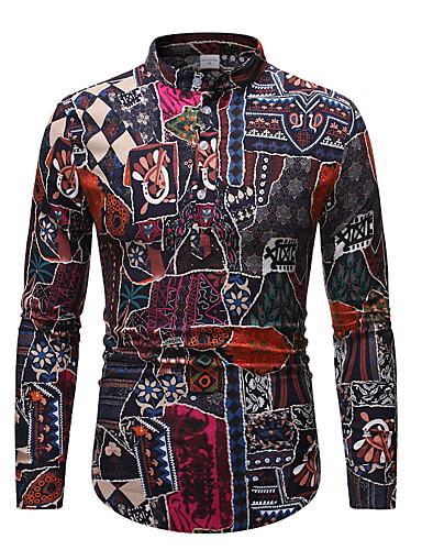 voordelige Herenoverhemden-Heren Street chic Print Overhemd Geometrisch / Tribal Regenboog