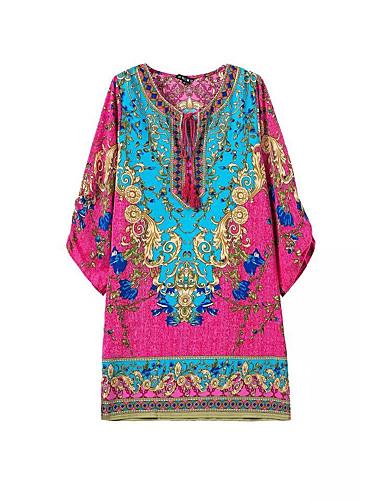 voordelige Grote maten jurken-Dames Street chic Elegant Wijd uitlopend Jurk - Geometrisch, Veters Patchwork Print Boven de knie