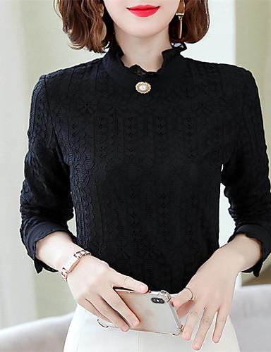 billige Dametopper-Skjorte Dame - Ensfarget, Blonde / Lace Trim Chinoiserie Svart