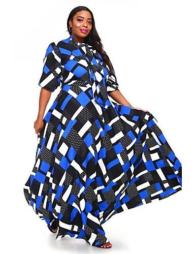 voordelige Grote maten jurken-Dames Street chic Elegant A-lijn Schede Wijd uitlopend Jurk - Kleurenblok Ruitjes Blokken, Veters Maxi Blauw & Wit Zwart & Rood Zwart & Wit