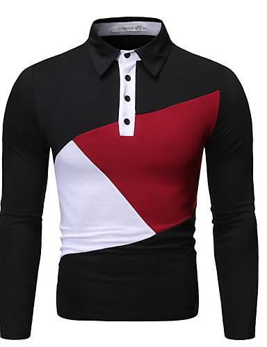 voordelige Herenpolo's-Heren Standaard Polo Kleurenblok Zwart