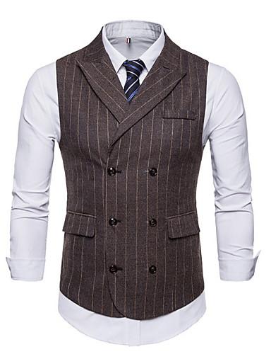 voordelige Herenblazers & kostuums-Heren Vest, Gestreept Ingesneden revers Polyester Bruin / Donkergrijs