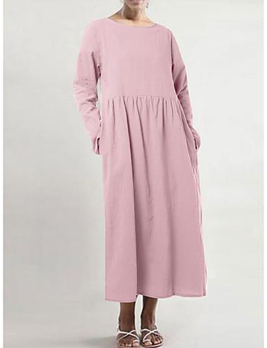voordelige Maxi-jurken-Dames Standaard Wijd uitlopend Jurk - Effen, Met ruches Patchwork Maxi