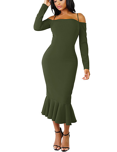 voordelige Maxi-jurken-Dames Standaard Schede Jurk - Effen Midi