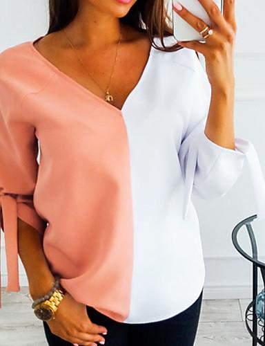 billige Dametopper-T-skjorte Dame - Fargeblokk Svart